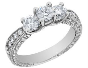 Picture of Vintage Style Three Stone Diamond Engagement Ring